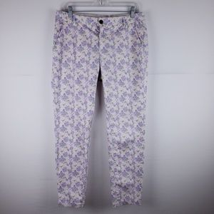 H&M Floral Cropped Ankle Pants Size 10